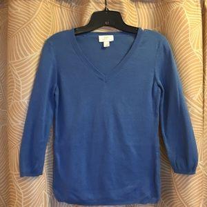 Loft blue v-neck 3/4 sleeve cotton sweater